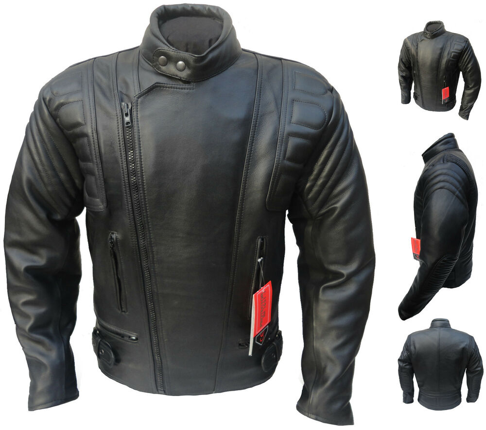 CE ARMOURED Leather Motorcycle Motorbike Racing Jacket | eBay