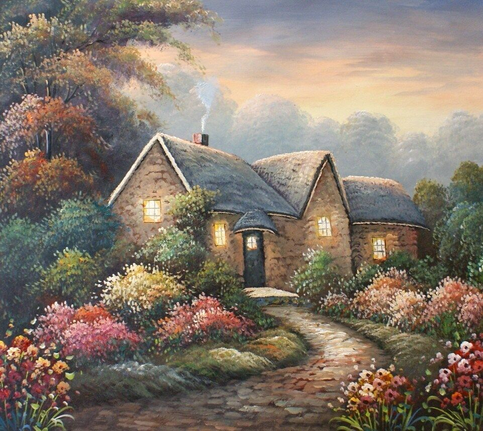 Country Cottage Glow 20 X 24 Original Oil Painting On
