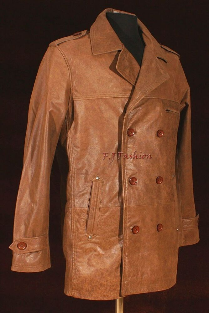 Double breasted leather jacket mens
