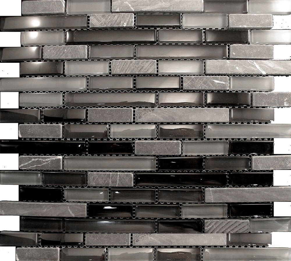 10sf marble black gray crystal glass mosaic tile kitchen backsplash sink bath ebay Backsplash mosaic tile