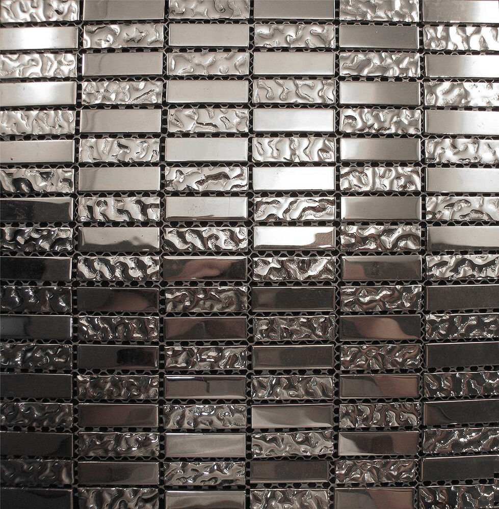 metallic wall tiles kitchen 10sf silver metallic glass blend mosaic tile for kitchen 7479