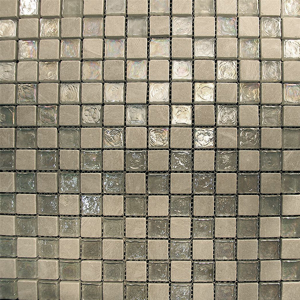 Sample silver tone iridescent stone glass mosaic tile kitchen backsplash bath ebay Backsplash mosaic tile