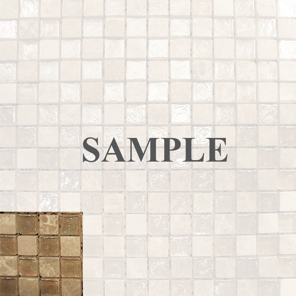 Sample Beige Iridescent Stone Glass Mosaic Tile Kitchen Backsplash Bath Sink Ebay