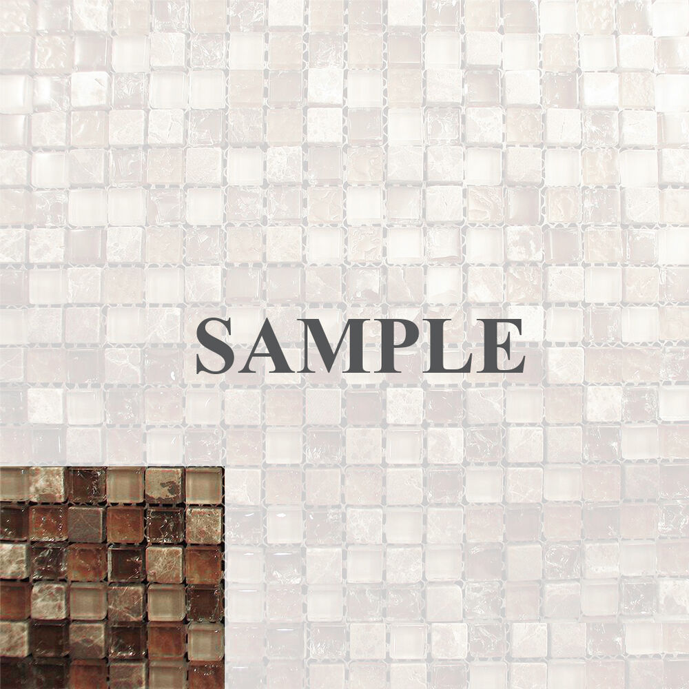 Sample marble brown crackle glass mosaic tile blend for kitchen backsplash bath ebay Backsplash mosaic tile