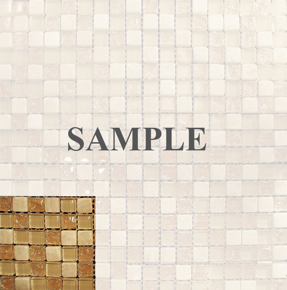 Sample Cream Crackle Glass Mosaic Tile Kitchen Backsplash: Sample- Honey Onyx Crackle Crystal Glass Mosaic Tile For