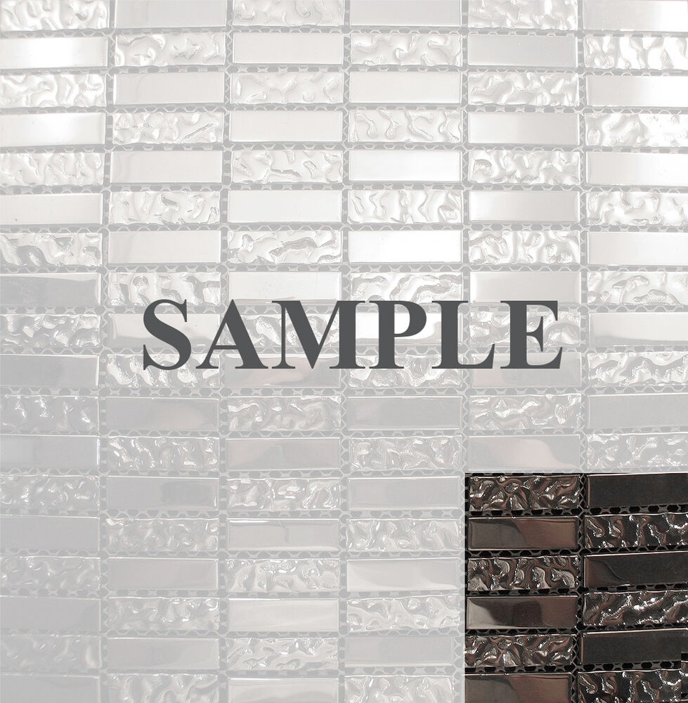 Sample silver metallic glass blend mosaic tile for kitchen backsplash bath sink ebay Backsplash mosaic tile