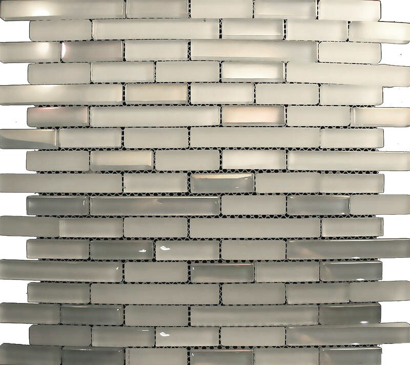 sample white iridescent glass mosaic tile for kitchen
