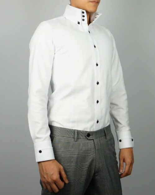 Mens new slim skinny fit white high collar button down for Mens button collar shirts