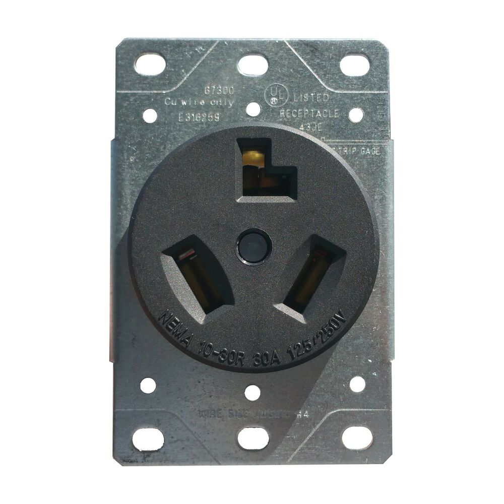 receptacle wiring from power 30 amp flush mount dryer plug receptacle 3-wire power ...