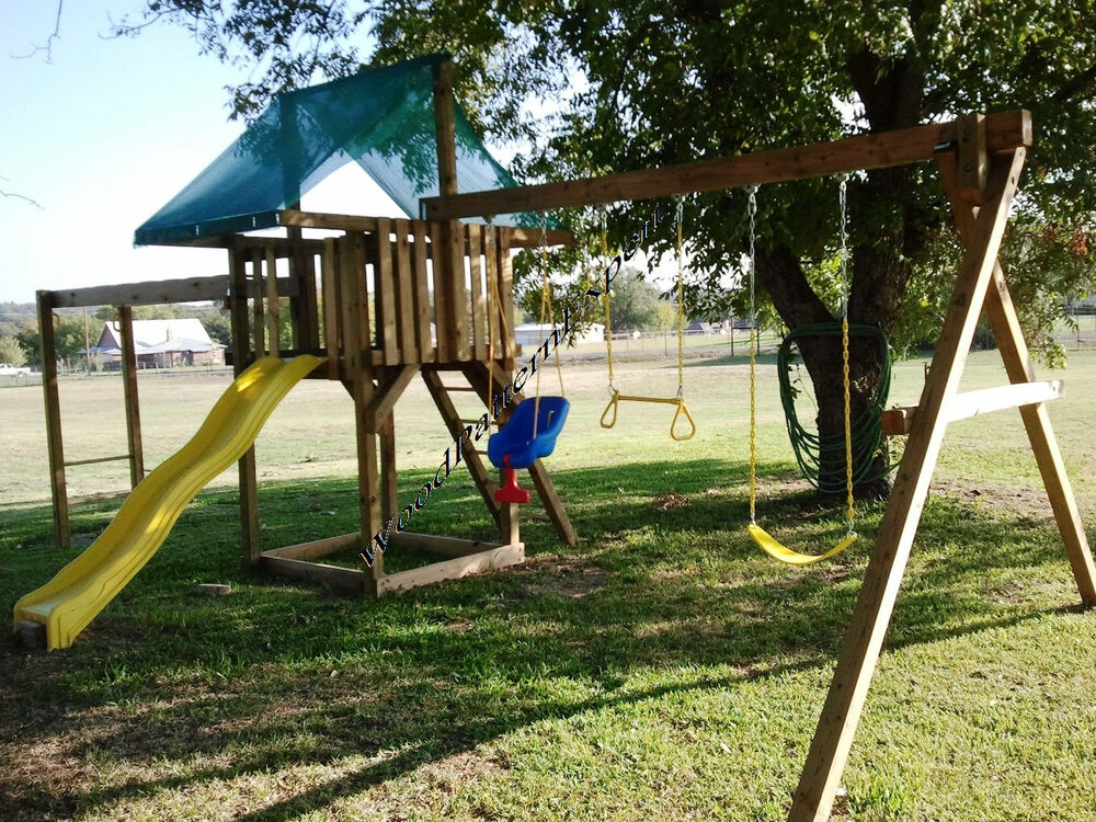 Play fort swing set paper patterns build wood play ground for Swing set designs