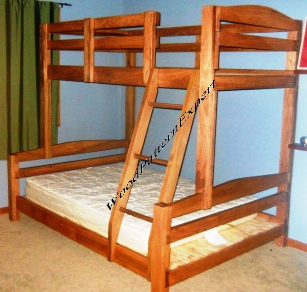 Bunk bed paper patterns build king over queen over full for Simple bed diy