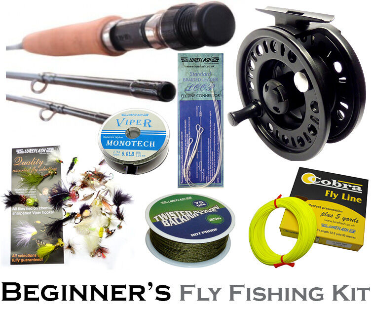beginners fly fishing kit 8ft rod ideal river kids or