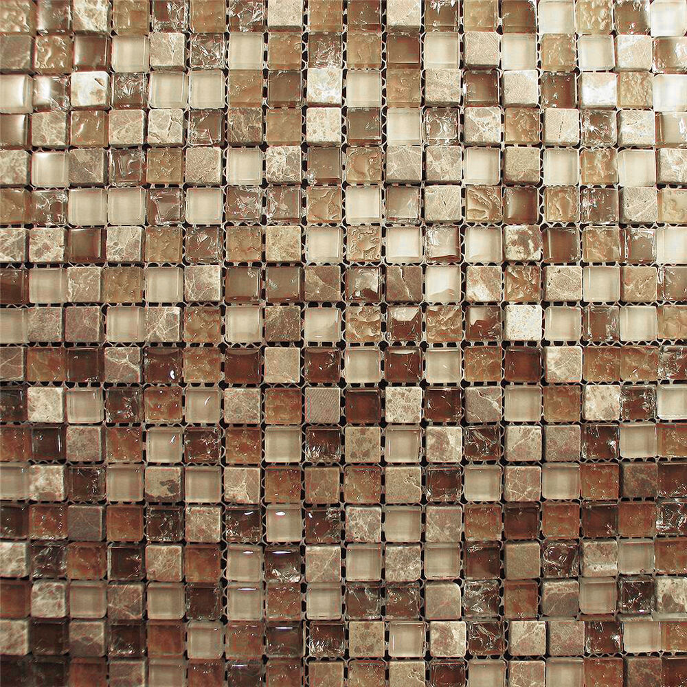 Sample Stainless Steel Insert Marble Stone Beige Mosaic: 1SF- Marble Brown Crackle Glass Mosaic Tile Blend For
