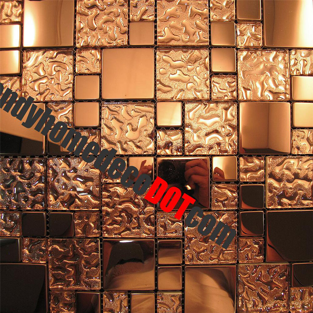 1sf Copper Metal Pattern Textured Glass Mosaic Tile For