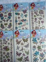 2 x Temporary Tattoo Girl Glitter Hearts Butterflies Flowers Love Tattoos ~ 99p