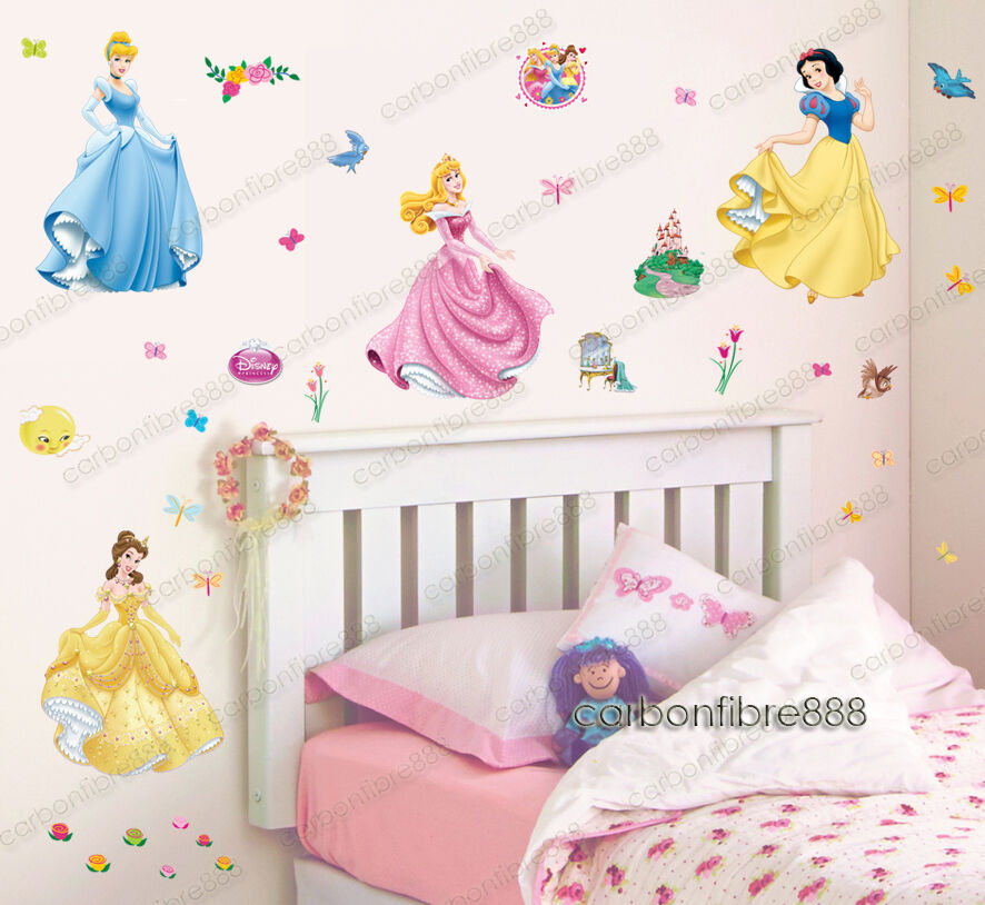 37pcs disney princess wall stickers kids nursery decor for Disney princess wall mural stickers