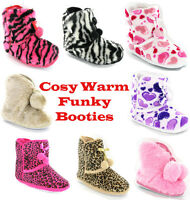 NEW WOMENS GIRLS FUNKY FLUFFY FUR WARM COSY SLIPPERS BOOTIES SIZE 3-8 UK
