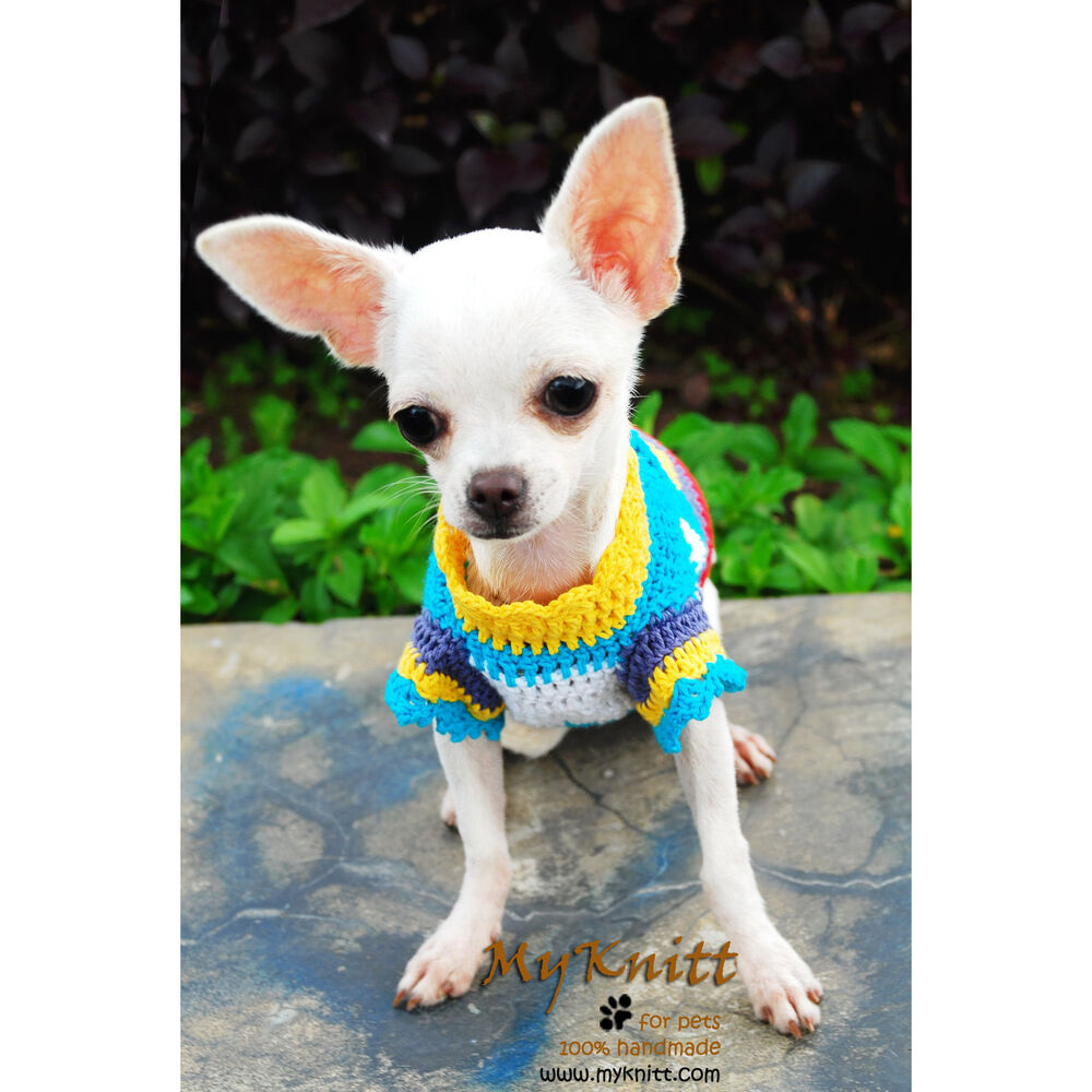 Cute Dog Clothes Handmade XXS XS S M Crochet Pet Clothing Dogs Sweater ...