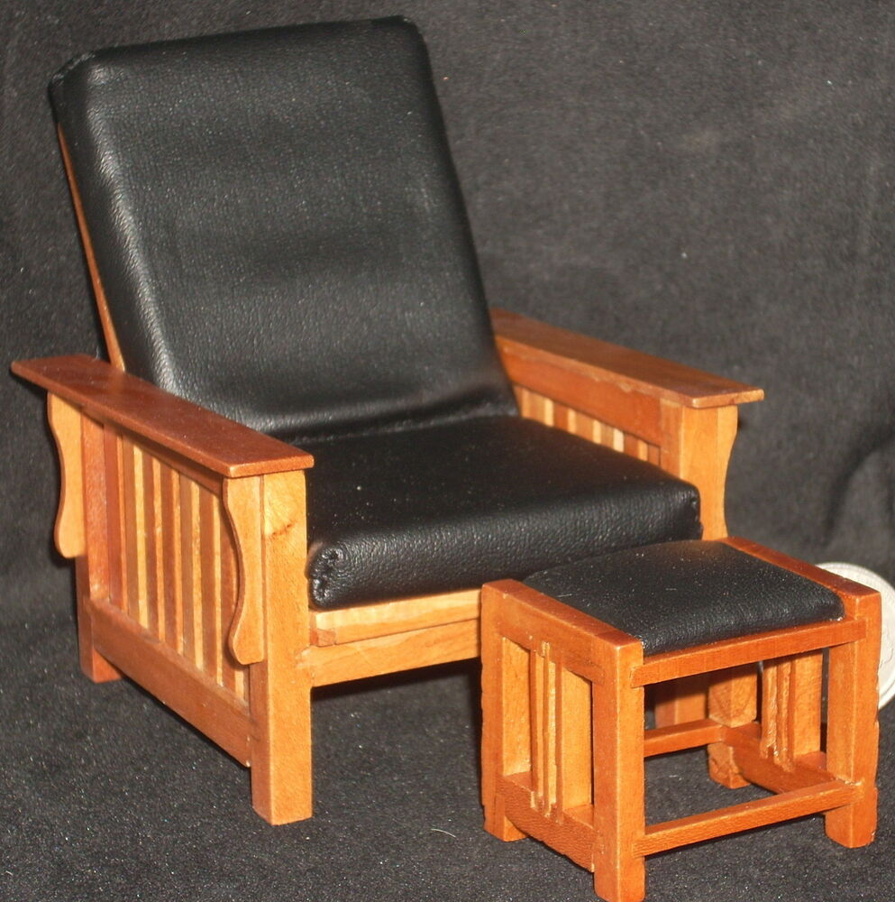 Pecan Mission Style Chair And Ottoman 1:12 #T7234 Retired