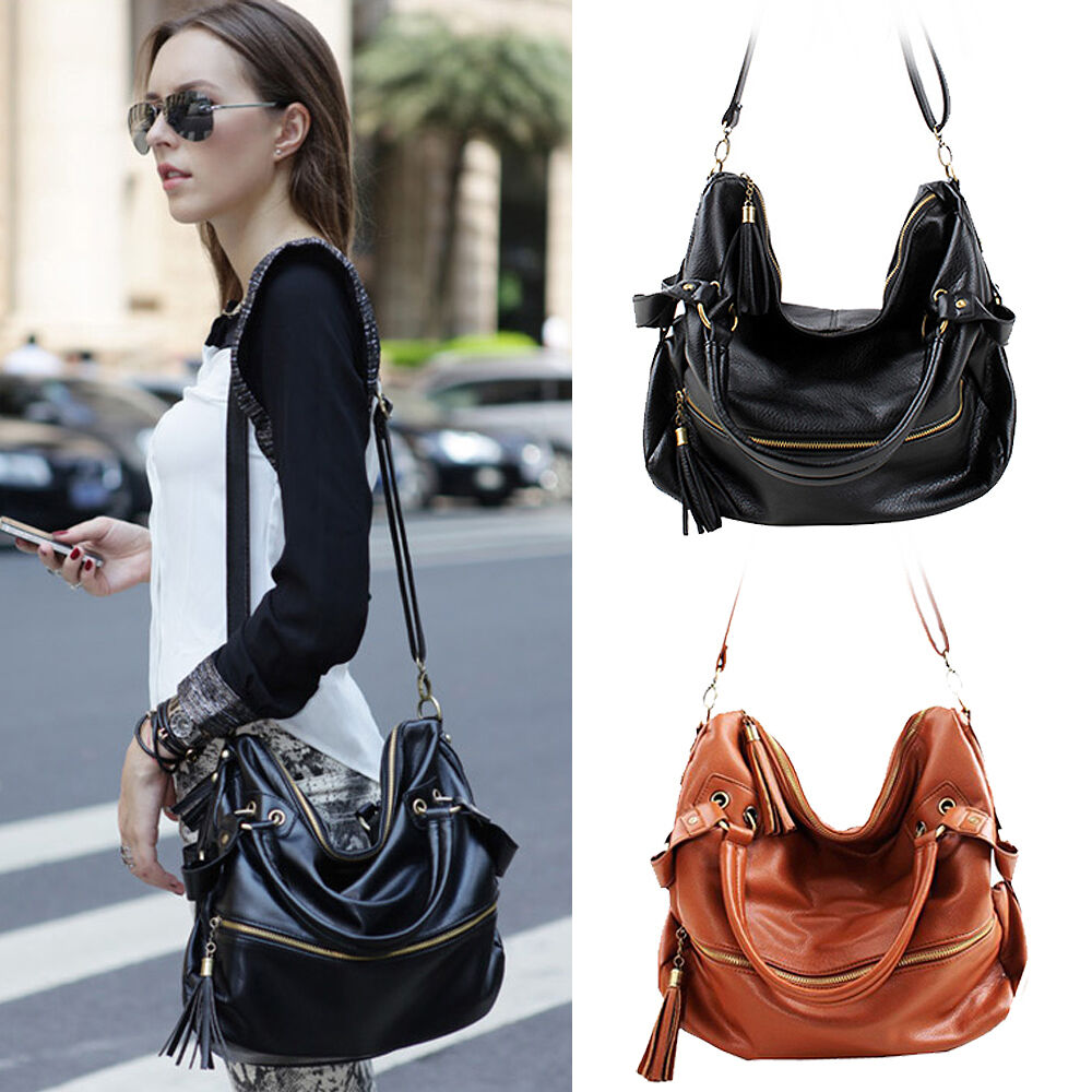 Korean Hobo PU Tassel Leather Handbag Cross Body Shoulder ...