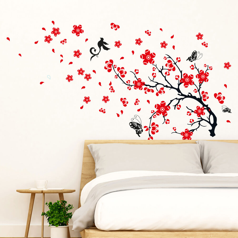 Blossom flowers tree wall stickers mural art decal self for Decal wall art mural
