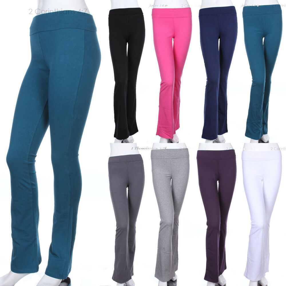 Womens' Solid Plain Fold Over COTTON Flared Boot Cut Yoga