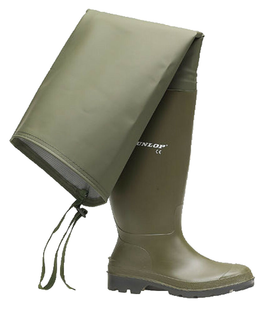 Dunlop fishing green thigh waders wellies mens wellingtons for Fishing waders with boots
