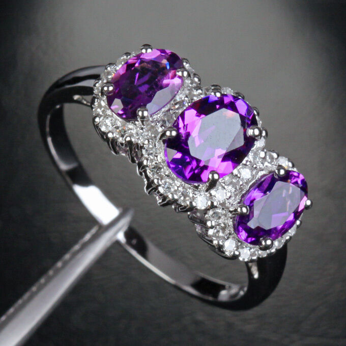 5x7mm purple amethyst 3 stones 14k white gold 32ct