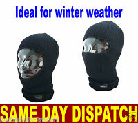 MENS BLACK THERMAL THINSULATE OPEN FACE BALACLAVA ONE SIZE HIKING SKYING FISHING