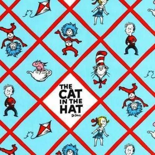 Cat In The Hat Characters: DR SEUSS CAT IN THE HAT BLUE DIAMOND CHARACTERS FABRIC