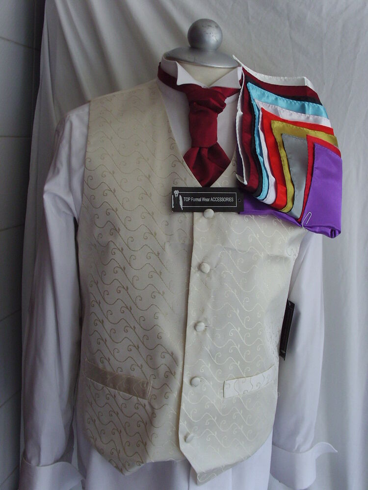 Ivory mens wedding silk waistcoat 34 to 54 chest cravat for Mens ivory dress shirt wedding