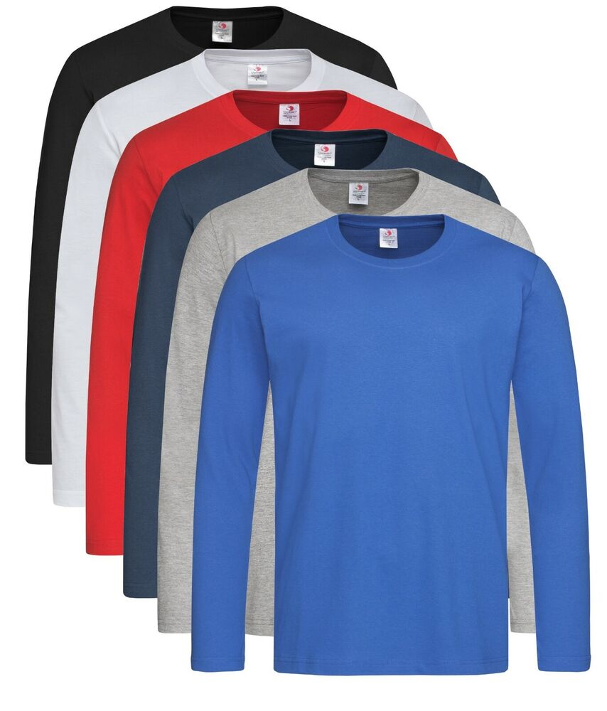 Plain cotton black blue brown green grey white long sleeve for Black and blue long sleeve shirt