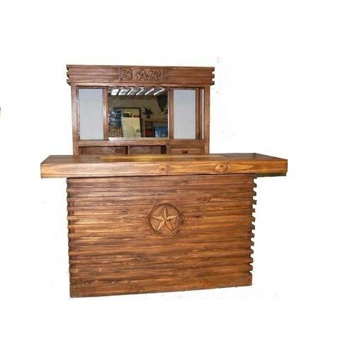 Rustic pecan two piece bar with mirror man cave real solid wood cabin