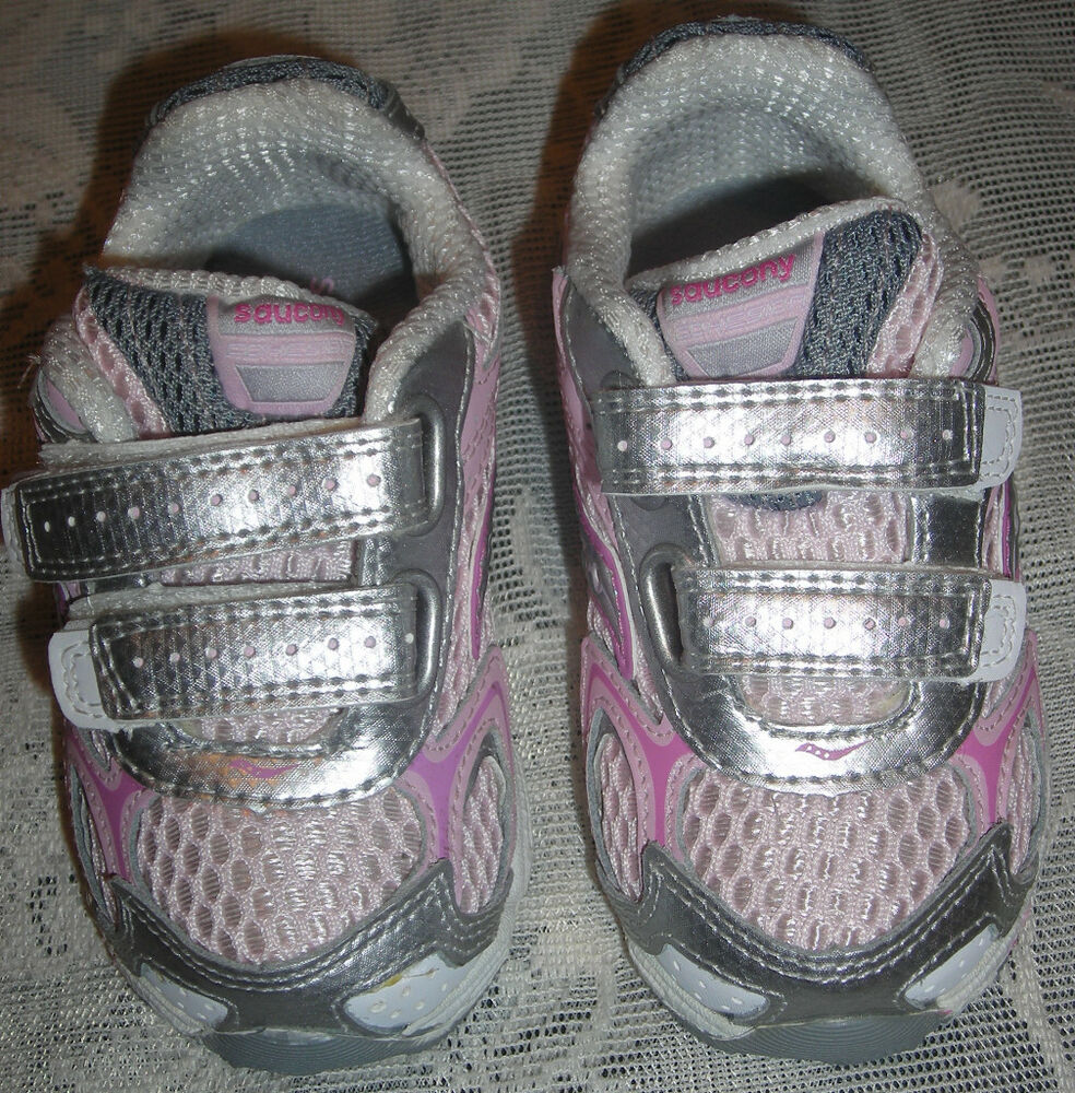 Saucony Baby Girls Pink Silver Leather Tennis Shoes 5 5