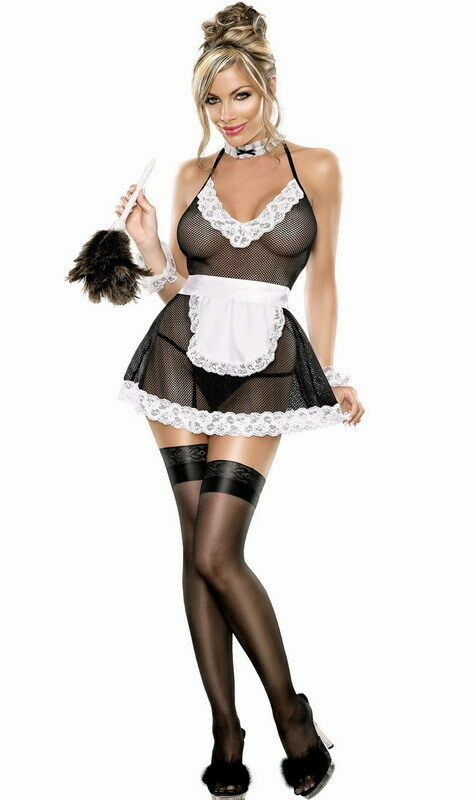 sexy naughty french maid costume see through outfit