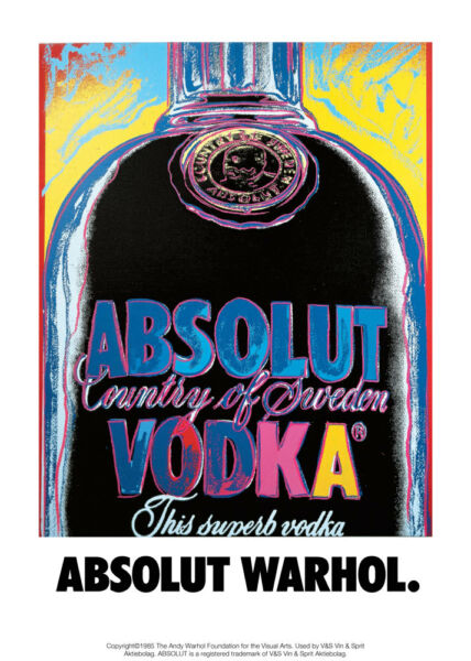 Poster ANDY WARHOL- ABSOLUT VODKA - Art Arte POP-ART - Manifesto 50x70!