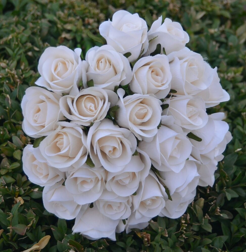 silk rose wedding bouquets silk roses ivory wedding flowers bouquet 7413