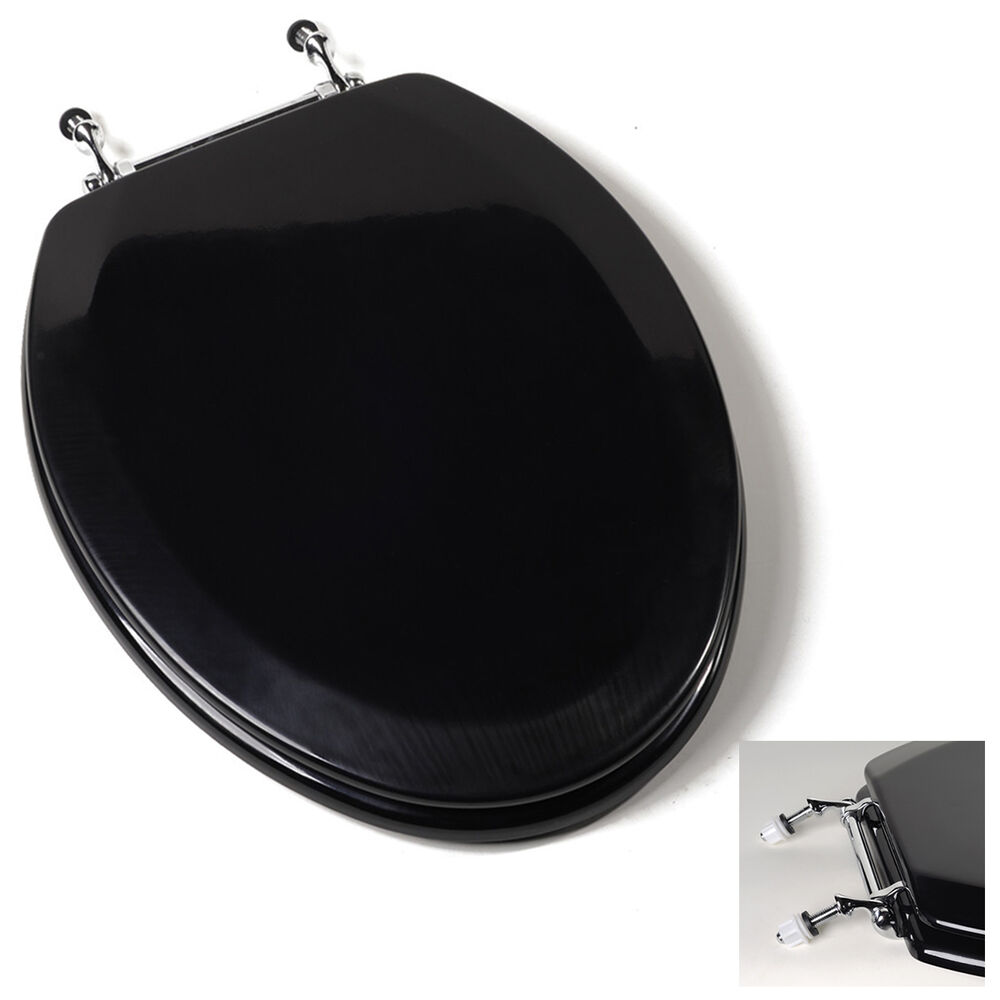 Deluxe Black Elongated Wood Toilet Seat Adjustable Chrome