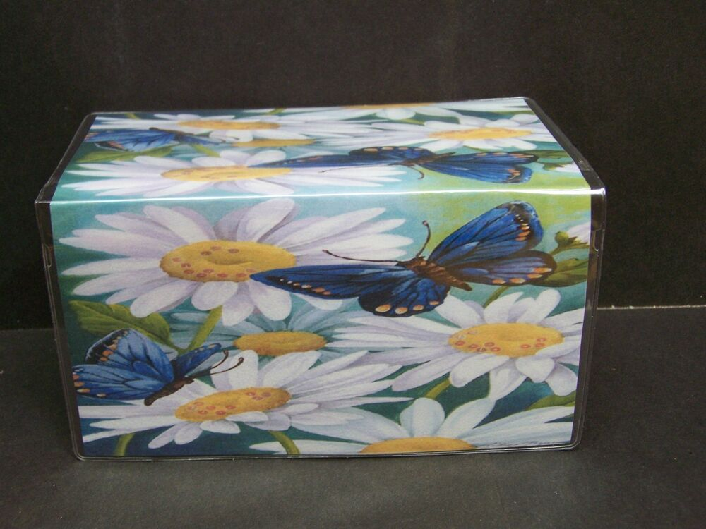 Pretty Checkbook Cover : Beautiful blue butterfly white daisies checkbook cover ebay