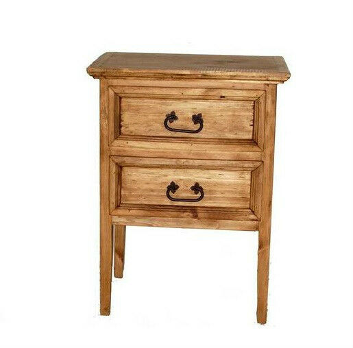 Rustic two drawer nightstand western cabin lodge real for Rustic wood nightstand