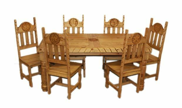 Rustic star rope dining room set western cabin lodge real for Western dining room tables