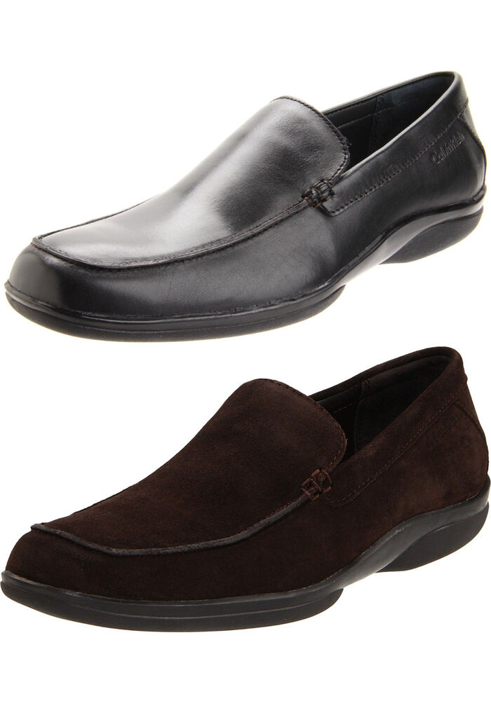 calvin klein mens black brown slip on business
