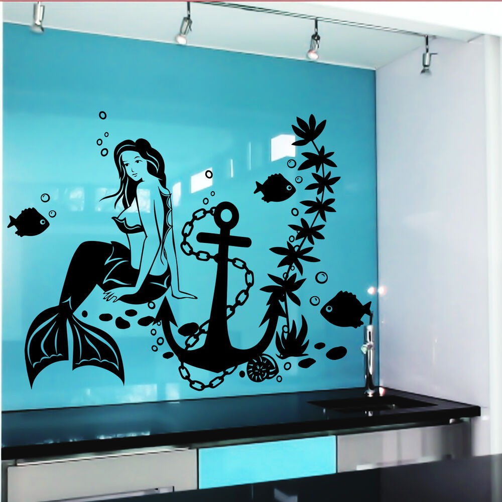Wall decal mermaid fish anime girl stickers marine design for Girls murals