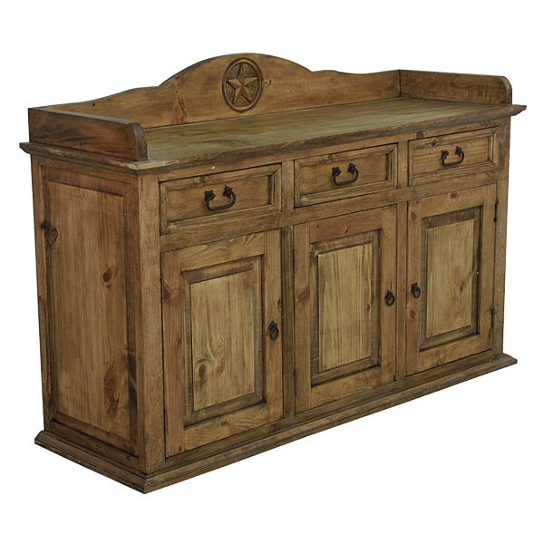 Pine Buffet With Star Rustic Western Real Wood Cabunet