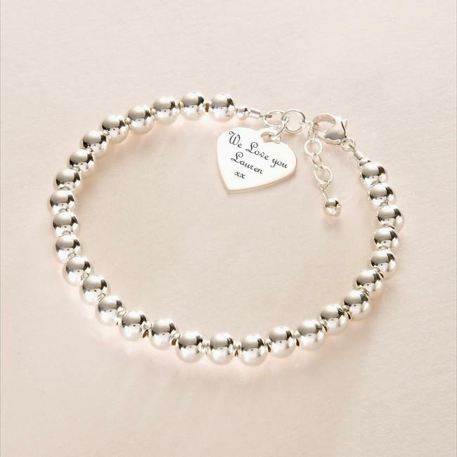 Picture Charms For Bracelets: Real Sterling Silver Beaded Bracelet, Engraved Heart Charm