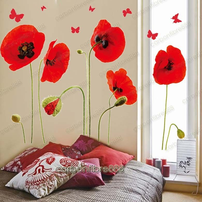 Wallpaper Decal: Red Poppy Flowers Butterflies Wall Stickers Art Decal