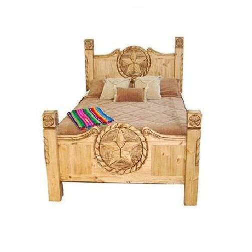 rustic lone star texas rope bed real wood king or queen western lodge cabin ebay. Black Bedroom Furniture Sets. Home Design Ideas