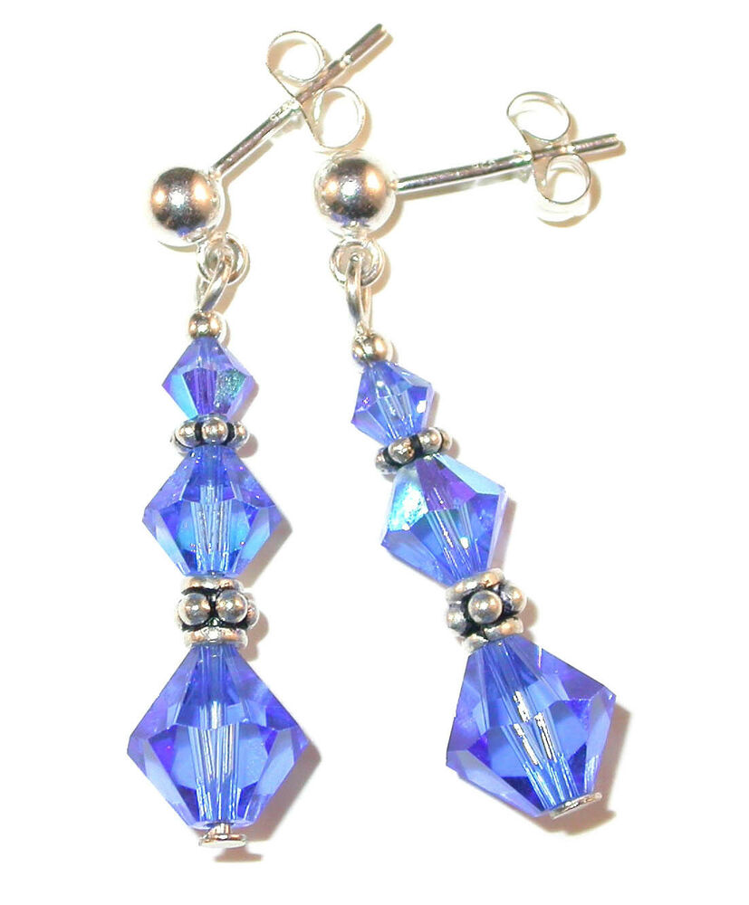 Sapphire Blue Crystal Earrings Dangle Bali Sterling Silver ...