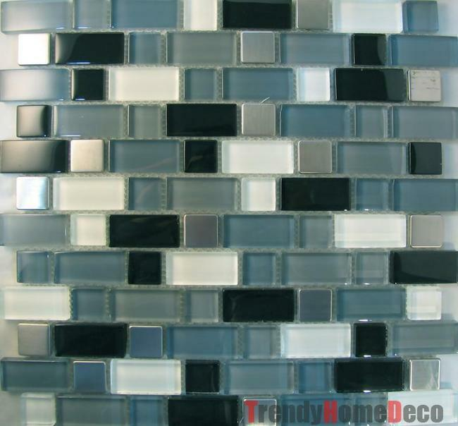 Sample Stainless Steel Metal Pattern Mosaic Tile Kitchen: Stainless Steel Pattern Gray Glass Mosaic Tile