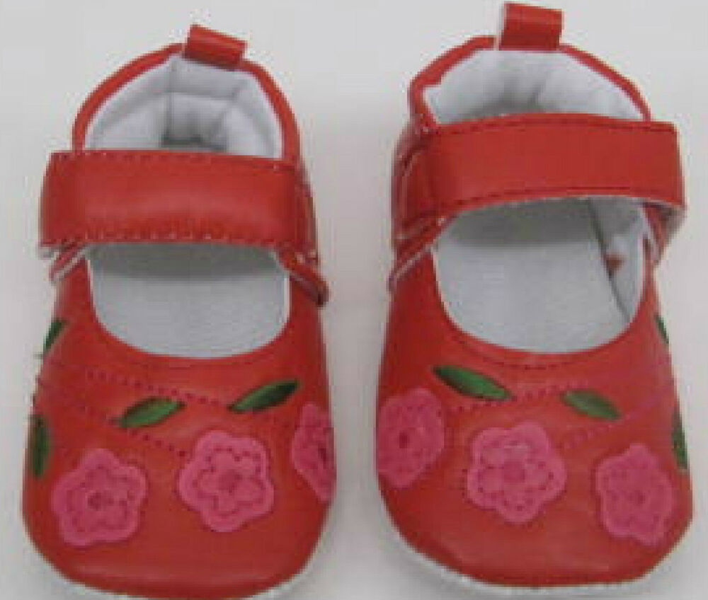 Baby Girls Shoes Red Embroidered new Birth 12 months